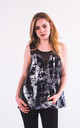 Sleeveless Chiffon Vest Top With Lace Detail In Black/White Abstract Print by CY Boutique
