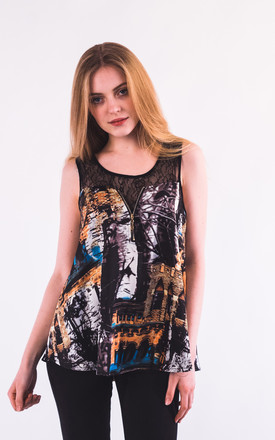 Sleeveless Chiffon Vest Top with Lace Detail in Brown/Multicolour Abstract Print by CY Boutique