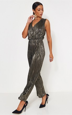 Black Shimmer Satin pleated Jumpsuit by The Fashion Bible