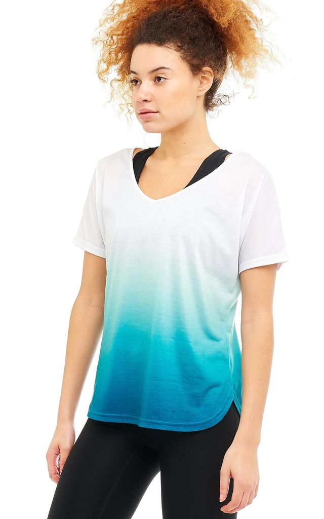 Aura T-Shirt In Turquoise And White Fade by Boudavida