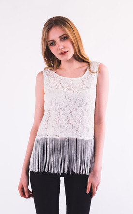 Fringed hem lace vest top by CY Boutique