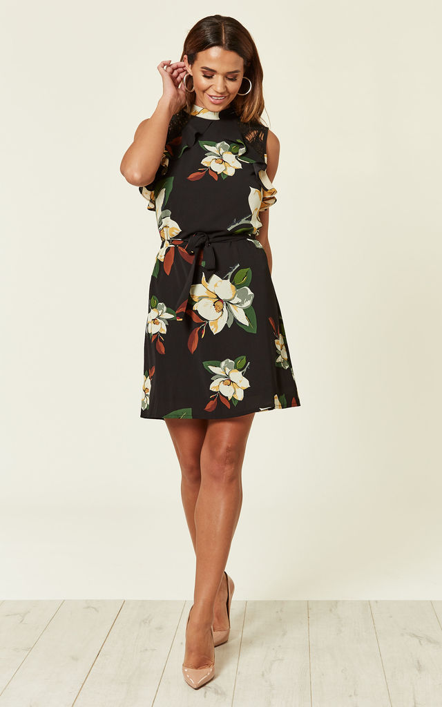 8565c1985c3d Black Floral Dress With Lace Detail | Madam Rage | SilkFred