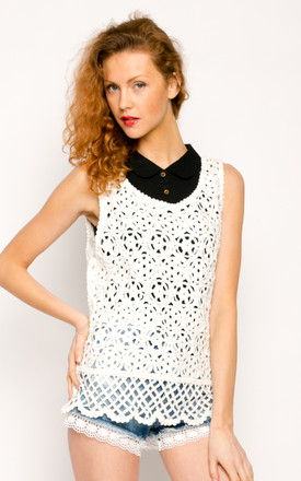 Sleeveless Crochet Vest Top in White by CY Boutique