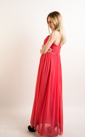 Strappy Chiffon Sweetheart Maxi Dress in Coral by CY Boutique