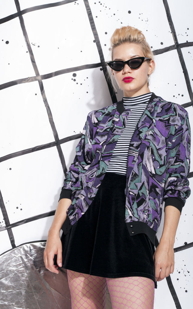 80s vintage shirt in purple abstract print by Pop Sick Vintage