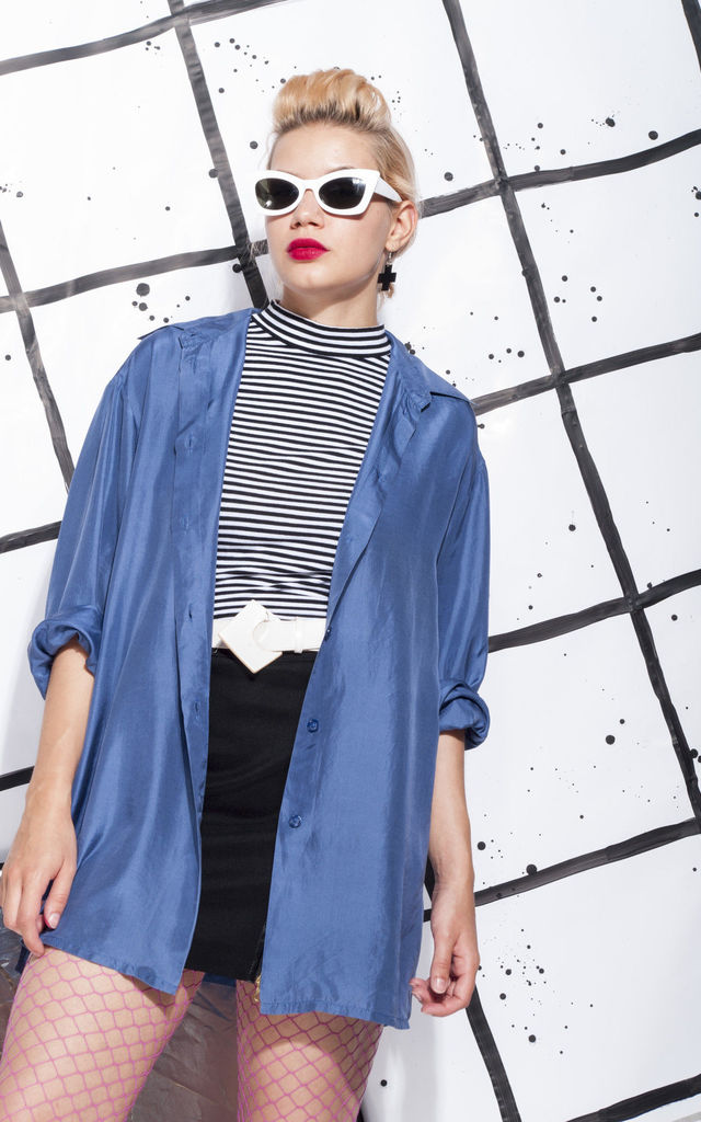 90s vintage silk shirt in blue by Pop Sick Vintage