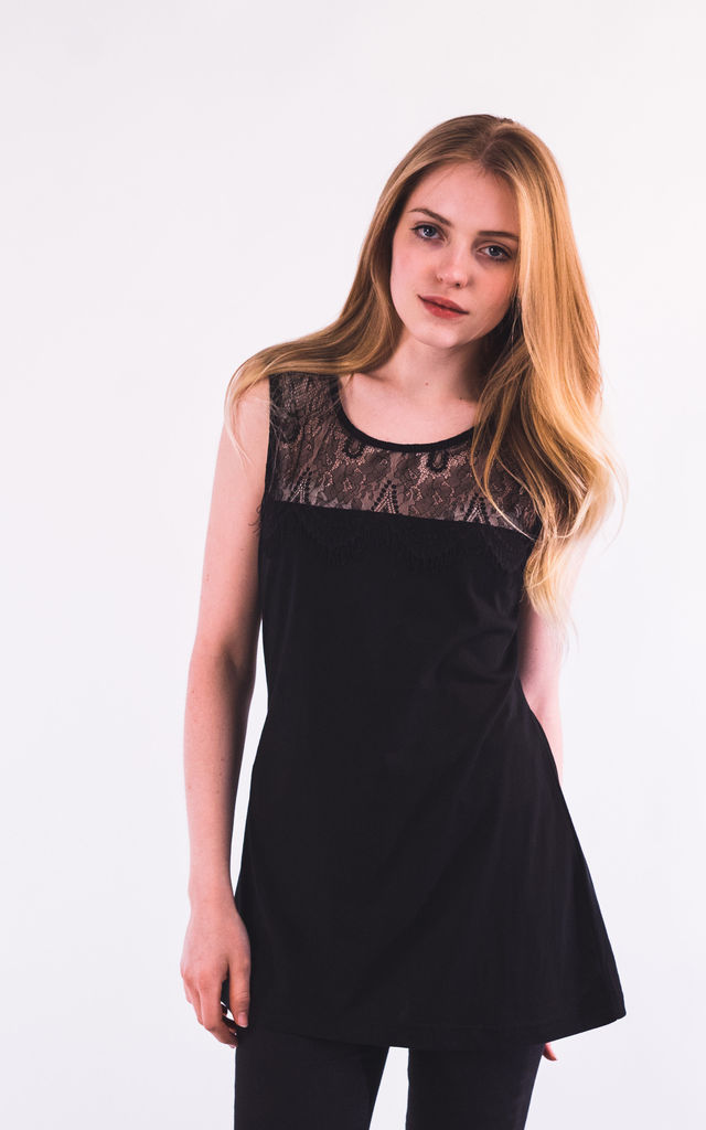 Sleeveless Vest Top with Eyelash Lace in Black by CY Boutique