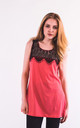 Sleeveless Vest Top with Eyelash Lace in Rose Red by CY Boutique