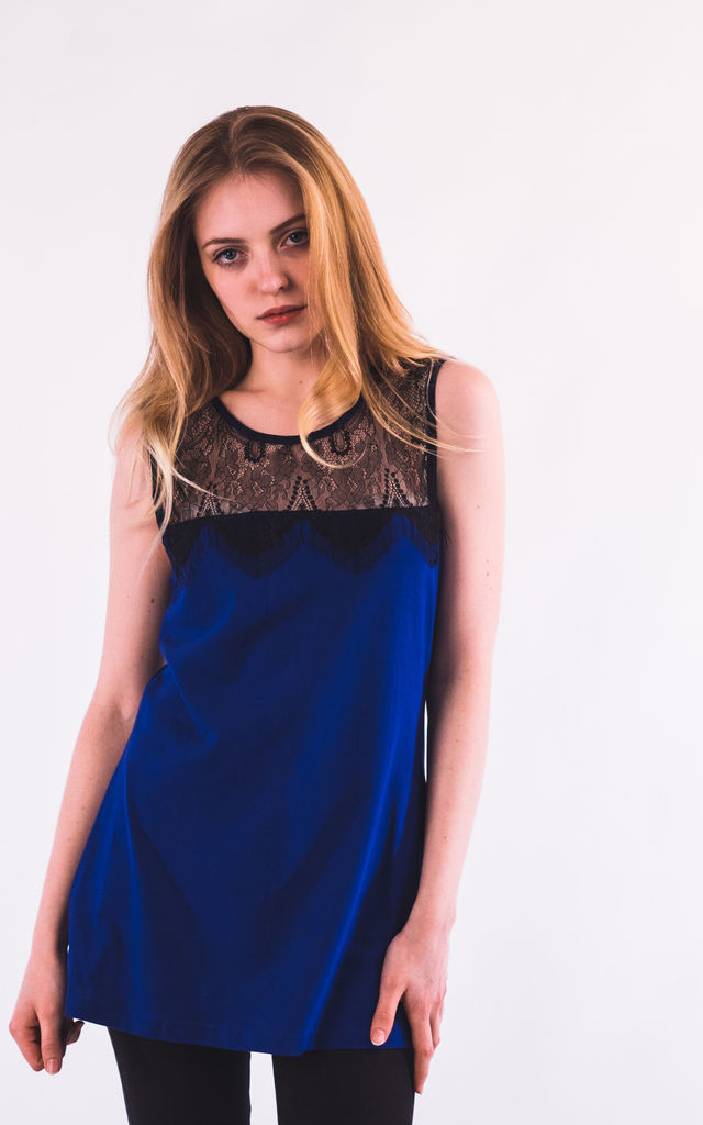 Sleeveless Vest Top with Eyelash Lace in Royal Blue by CY Boutique
