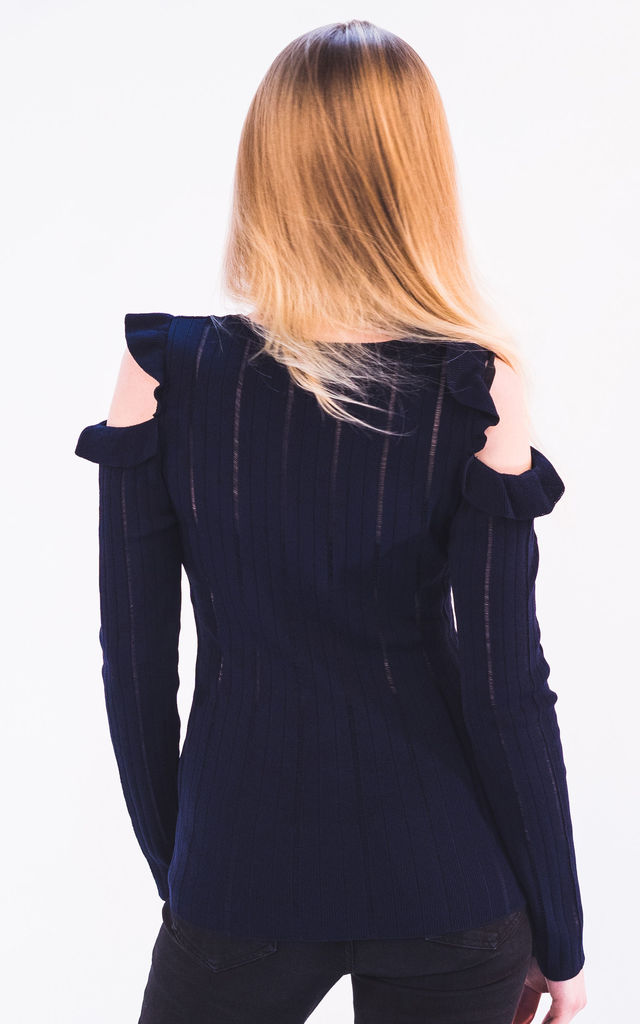Frill Cold Shoulder pointelle stitch top (Navy) by CY Boutique