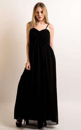 Strappy Chiffon Sweetheart Maxi Dress in Black by CY Boutique