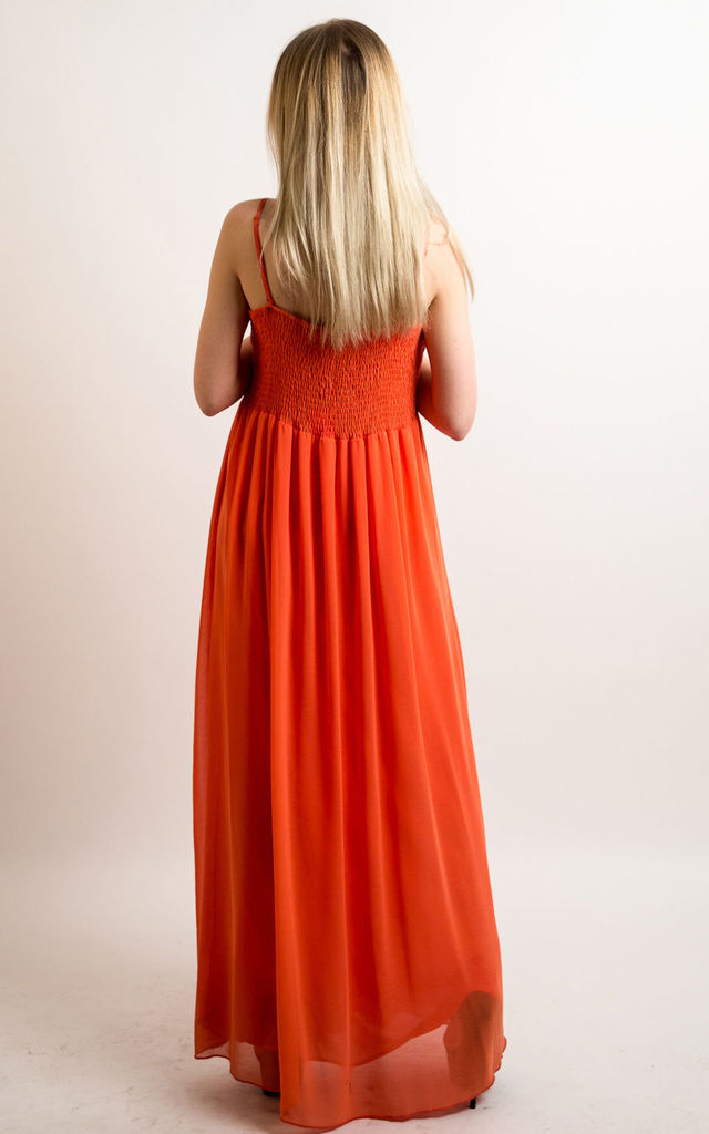 Strappy Chiffon Sweetheart Maxi Dress in Orange by CY Boutique