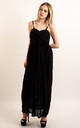 Strappy Sweetheart Lace Maxi Dress in Black by CY Boutique