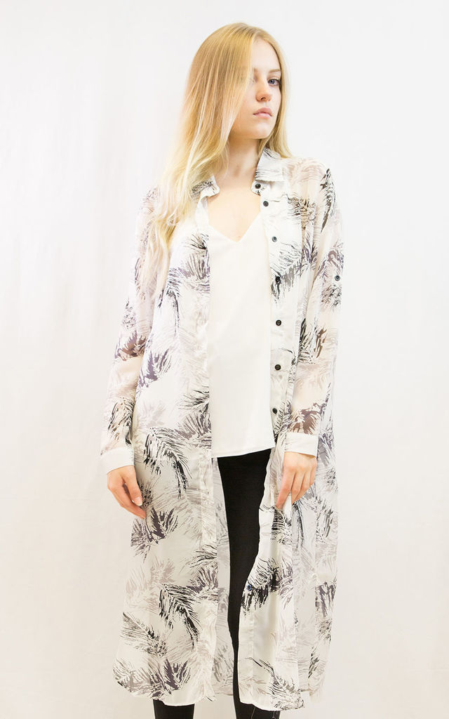 Feather and Leaves Printed Maxi Shirt Dress by CY Boutique