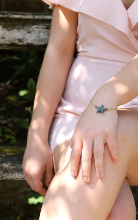 Blue Crystal Star Bracelet In Gold by LAST TRUE ANGEL Product photo