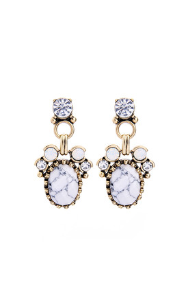 White Marble Gem Drop Earring by LAST TRUE ANGEL Product photo