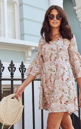 Nude floral print swing dress by Luna