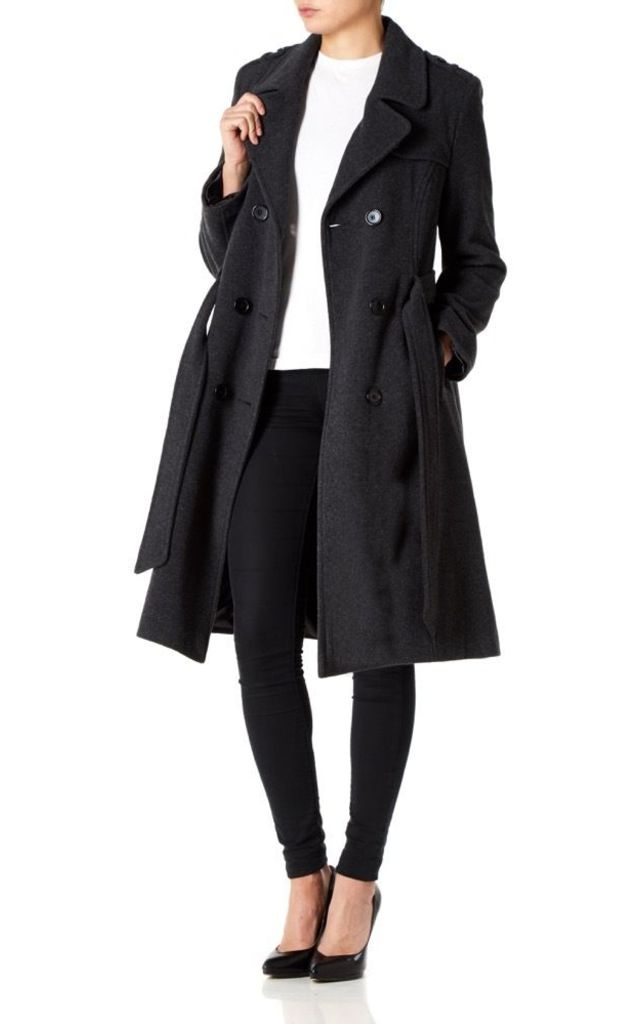 Natasha Grey Military Trench Coat by De La Creme Fashions