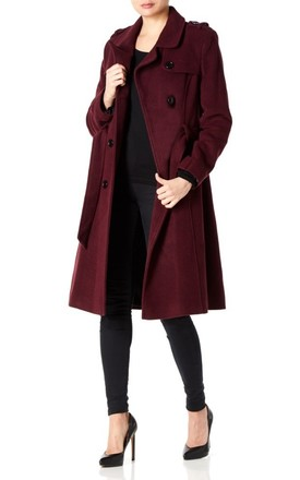 Natasha Wine Military Trench Coat by De La Creme Fashions Product photo