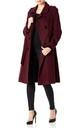 Natasha Wine Military Trench Coat by De La Creme Fashions