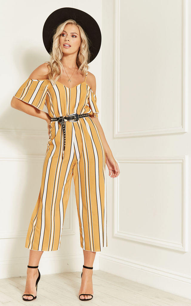 White and Yellow Stripe Cold Shoulder Jumpsuit With Belt by Lilah Rose