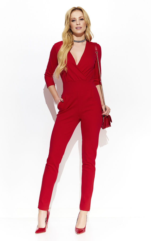 Red Elegant Wrap Jumpsuit by Makadamia