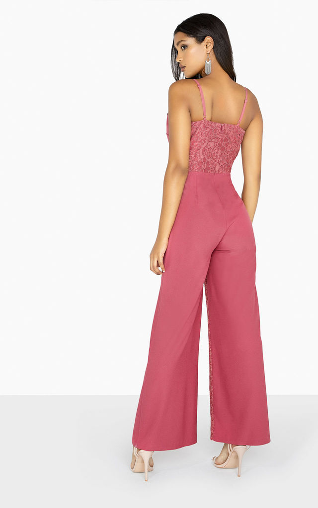 Amy Sienna Pink Cami Lace Wide Leg Jumpsuit by LITTLE MISTRESS