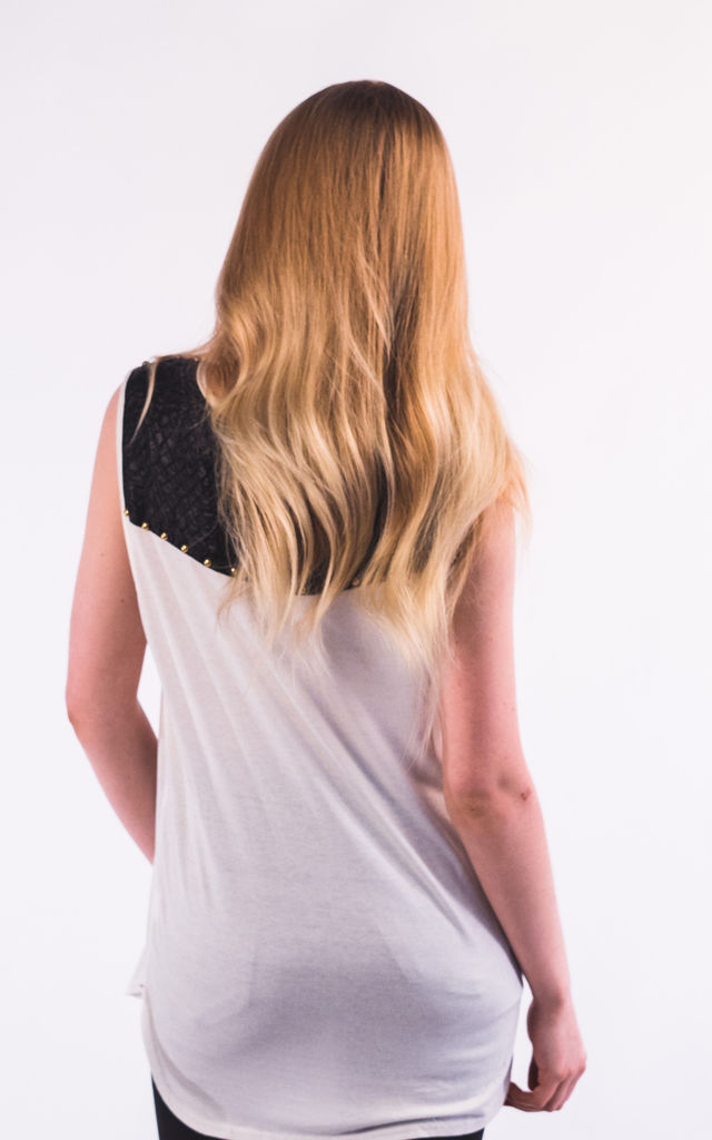 Sleeveless Vest Top with Faux Leather Shoulder and Back Detail in White/Black by CY Boutique
