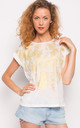 Summer Short Sleeve T-Shirt with Gold Print Effect in White by CY Boutique