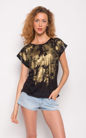 Summer Short Sleeve T-Shirt with Gold Print Effect in Black by CY Boutique