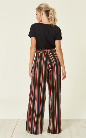 Black Multi Stripe Wide Leg Trouser by MISSI LONDON