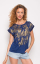Summer Short Sleeve T-Shirt with Gold Print Effect in Blue by CY Boutique