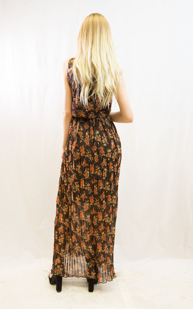 Sleeveless Wrap Maxi Dress in Brown and Orange Small Floral Print by CY Boutique