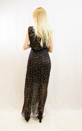 Sleeveless Wrap Maxi Dress in Black and Multicolour Cat Print by CY Boutique