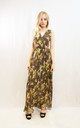 Sleeveless Wrap Maxi Dress in Brown and Pink Floral Print by CY Boutique