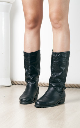 80s vintage black leather boots by Pop Sick Vintage