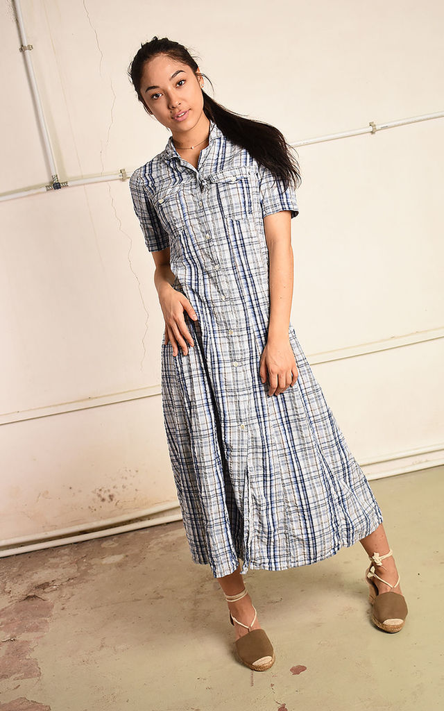 Vintage 90s retro Paris chic midi dress with checked print by Lover