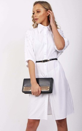 White Long Pearl Detail Blouse Shirt Dress (Variant) by Urban Mist