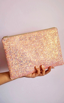 Glitter Clutch Bag In Bubblegum Pink by Suki Sabur Designs Product photo