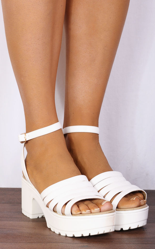1e9b0b2fc69b White Strappy Sandals Cleated Platforms Peep Toes High Heels by Shoe Closet