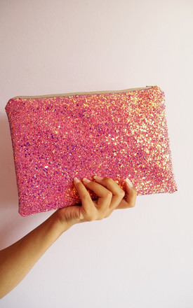 Glitter Clutch Bag In Pink & Rose Gold by Suki Sabur Designs Product photo