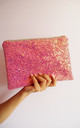 Glitter Clutch Bag in Pink & Rose Gold by Suki Sabur Designs