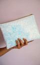 Glitter Clutch Bag in White Iridescent for Wedding by Suki Sabur Designs