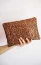 Glitter Clutch Bag in Brown by Suki Sabur Designs