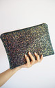 Glitter Clutch Bag in Black Iridescent by Suki Sabur Designs