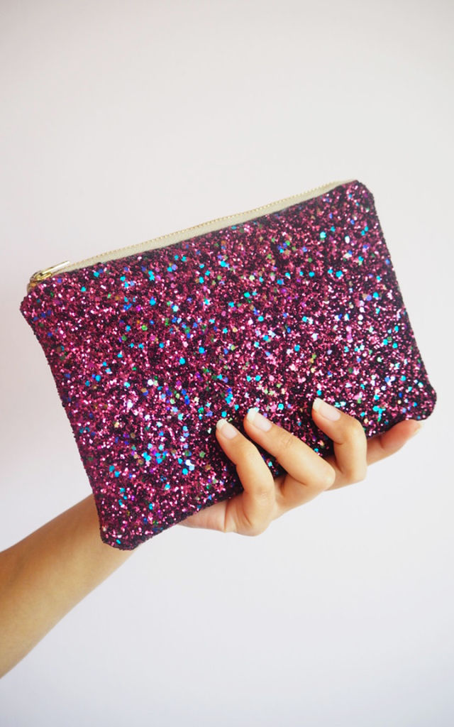 Glitter Makeup Bag in Berry Pink by Suki Sabur Designs