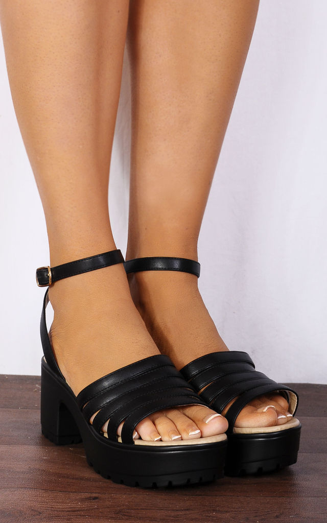 c1181e5eb7aa Black Strappy Sandals Cleated Platforms Peep Toes High Heels by Shoe Closet