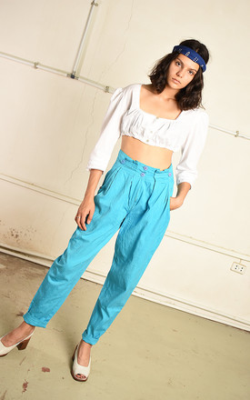 Vintage 80s highwaisted Paris chic trousers in turquoise by Lover