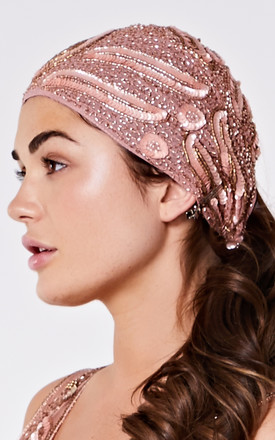 Hollywood Flapper Turban in Rose by Gatsbylady London
