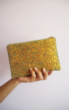 Glitter Mini Clutch Bag In Rust Gold by Suki Sabur Designs Product photo